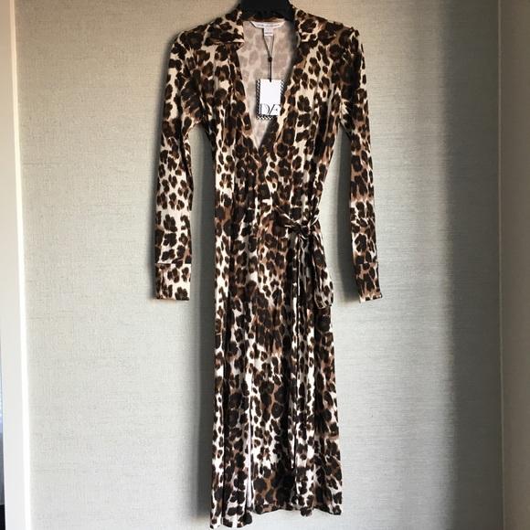 d76c46a6af12 Diane Von Furstenberg Dresses | Dvf Cybil Leopard Print Silk Wrap ...